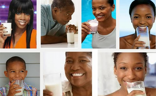 African Americans drinking milk