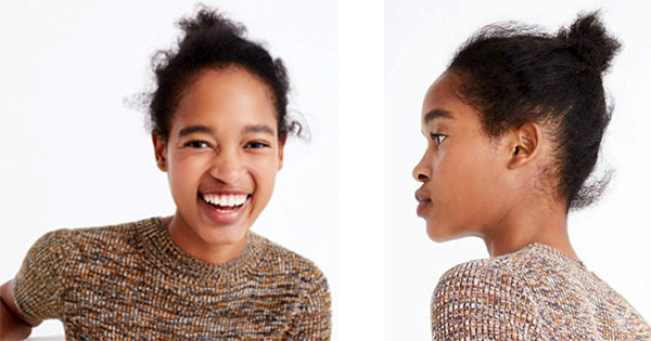 Model Marihenny featured in a J Crew ad with uncombed hair