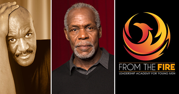 Delroy Lindo, Danny Glover, and the From the Fire Leadership Academy logo