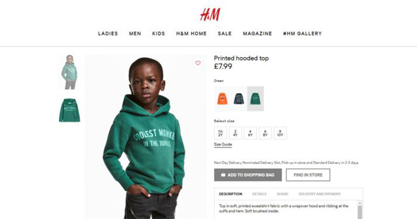 """Screenshot of the H&M website featuring a black boy in a """"Coolest Monkey in the Jungle"""" hoodie"""