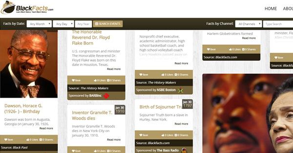 BlackFacts.com homepage snapshot