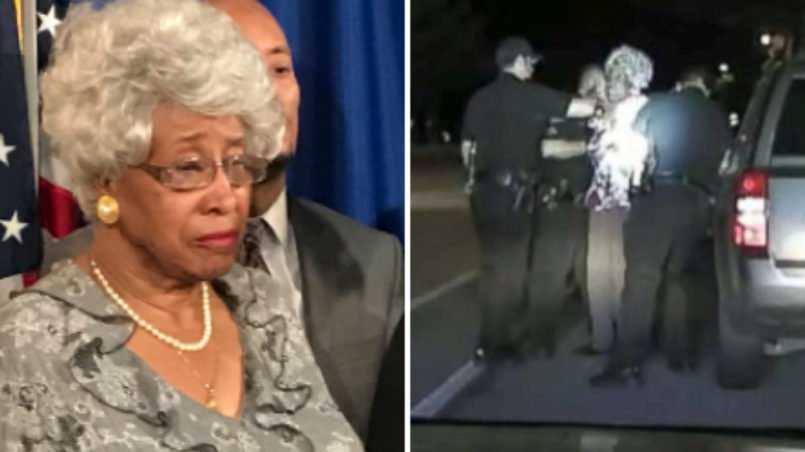 Black grandmother, Rose Campbell, being arrested by police