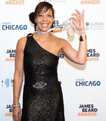 Chef Nina Compton at the James Beard Award event