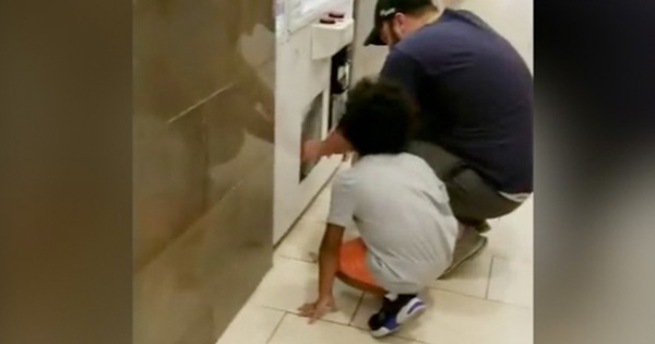Antony Helsinki, father caught on camera sending his child to steal in a vending machine