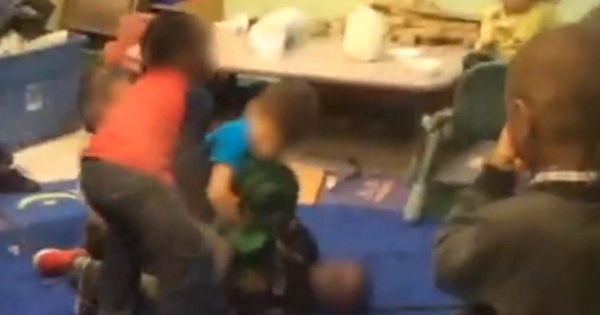 Children fighting at a daycare
