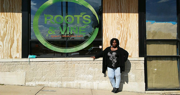 Ena Jones, founder of Roots and Vine Produce Cafe