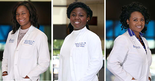 Dr. Avianne Bunnell, Dr. Kiandra Scott, andDr. Quiana Kern are surgical residents at MUSC