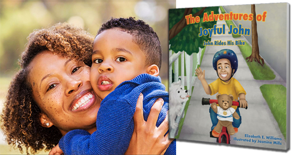 Author Elizabeth Williams with her son, and her bookcover