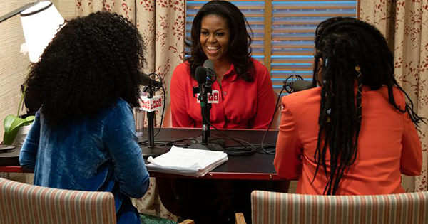 Michelle Obama with young Black girls