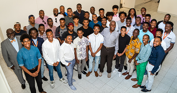 Young Black men at the From the Fire Academy with Danny Glover