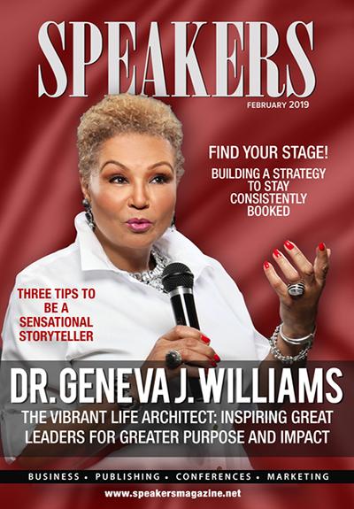 Dr. Geneva J. Williams on the cover of Speakers Magazine