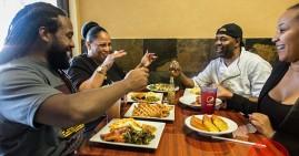 African Americans eating soul food