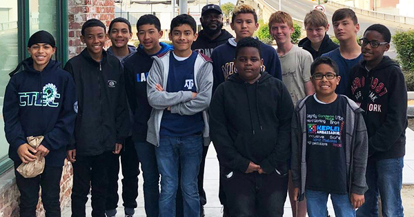 12 students and their coach from Kepler Neighborhood School in Fresno, California