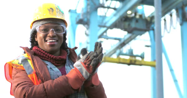 African American worker in construction