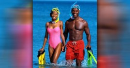 African American couple on vacation cruise