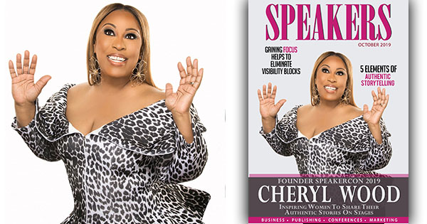 Cheryl Wood on the cover of Speakers Magazine