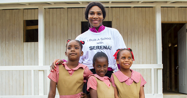Serena Williams with students