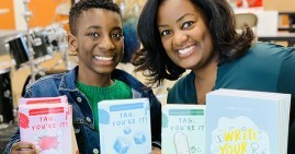 6th grade author Connor Benjamin Littlejohn and his mom, Amanda