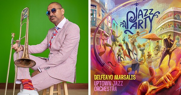 Delfeayo Marsalis with album cover for Jazz Party