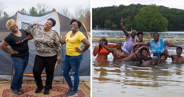 Campers at the Melanated Campout in Georgia
