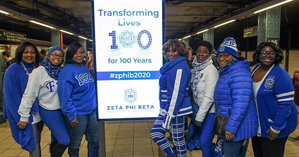 Members of Zeta Phi Beta celebrating 100 years