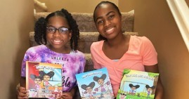 Gabby and Gigi, young sister authors of three books