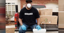 Terence Lester, creator of portable hand washing stations for the homeless