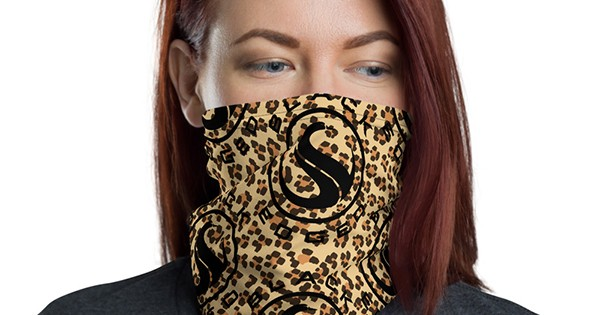 Woman wearing Black-owned custom face mask